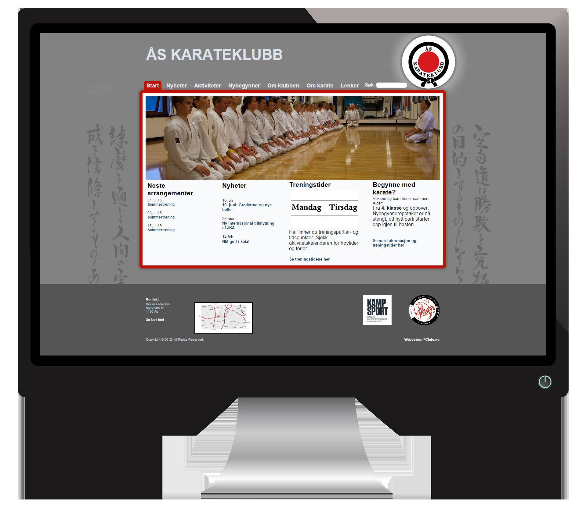 En pc-skjerm som viser nettsidene til Åskarate