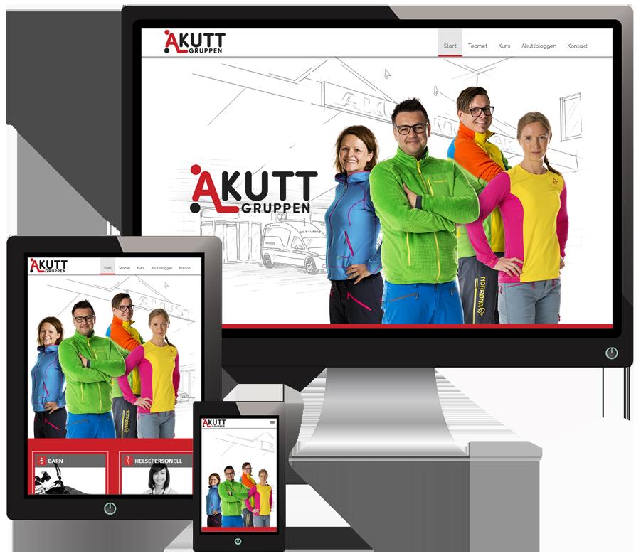 3 skjermer som viser Akuttgruppen sine nettsider i forskjellige størrelser