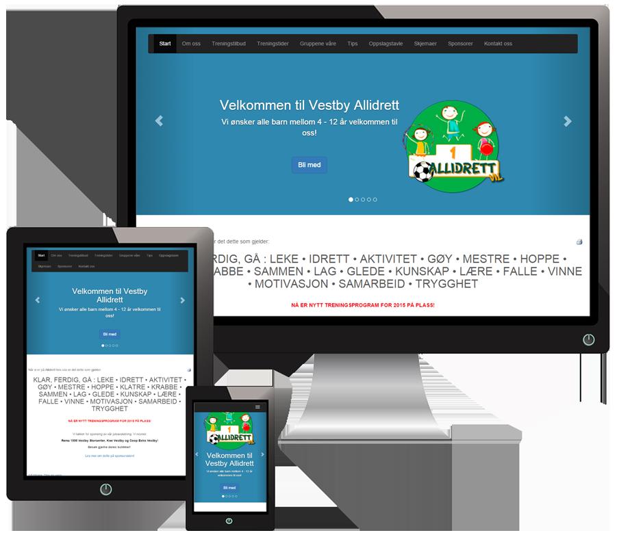 3 skjermer som viser Allidrett-vil sine nettsider i forskjellige størrelser