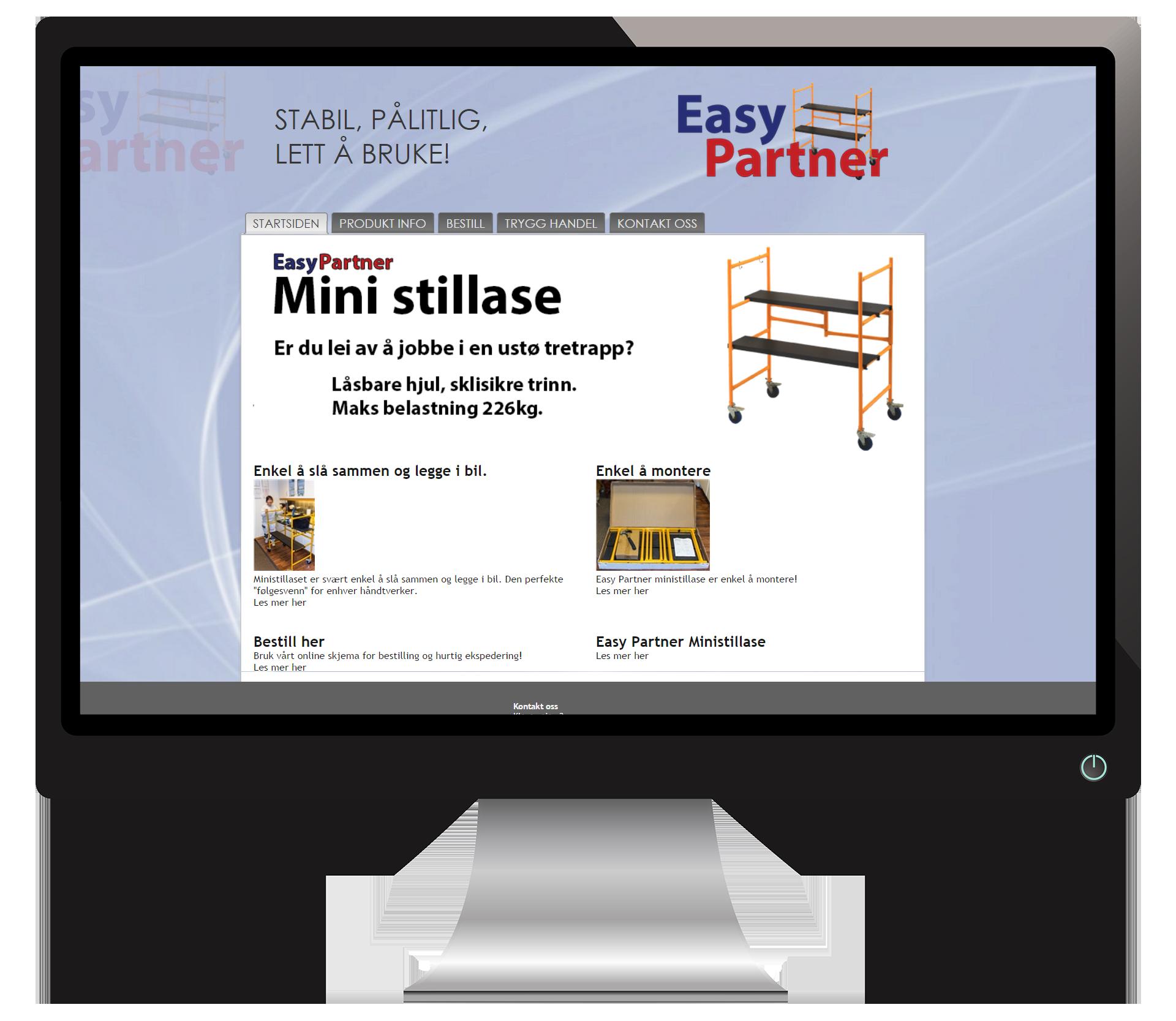 En pc-skjerm som viser nettsidene til EasyPartner
