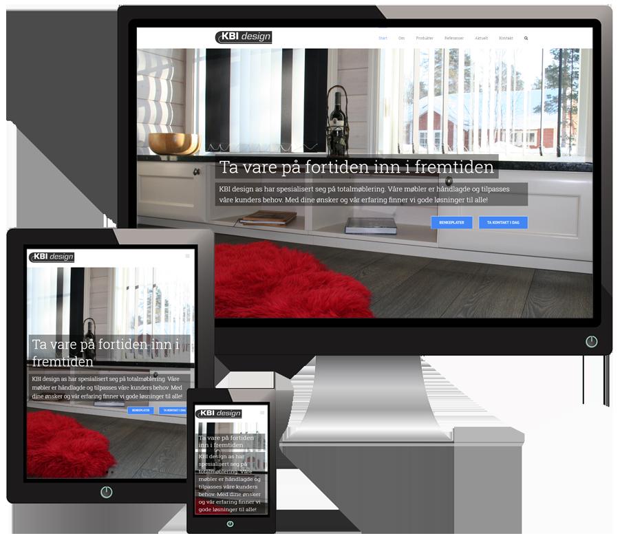 3 skjermer som viser KBIdesign sine nettsider i forskjellige størrelser