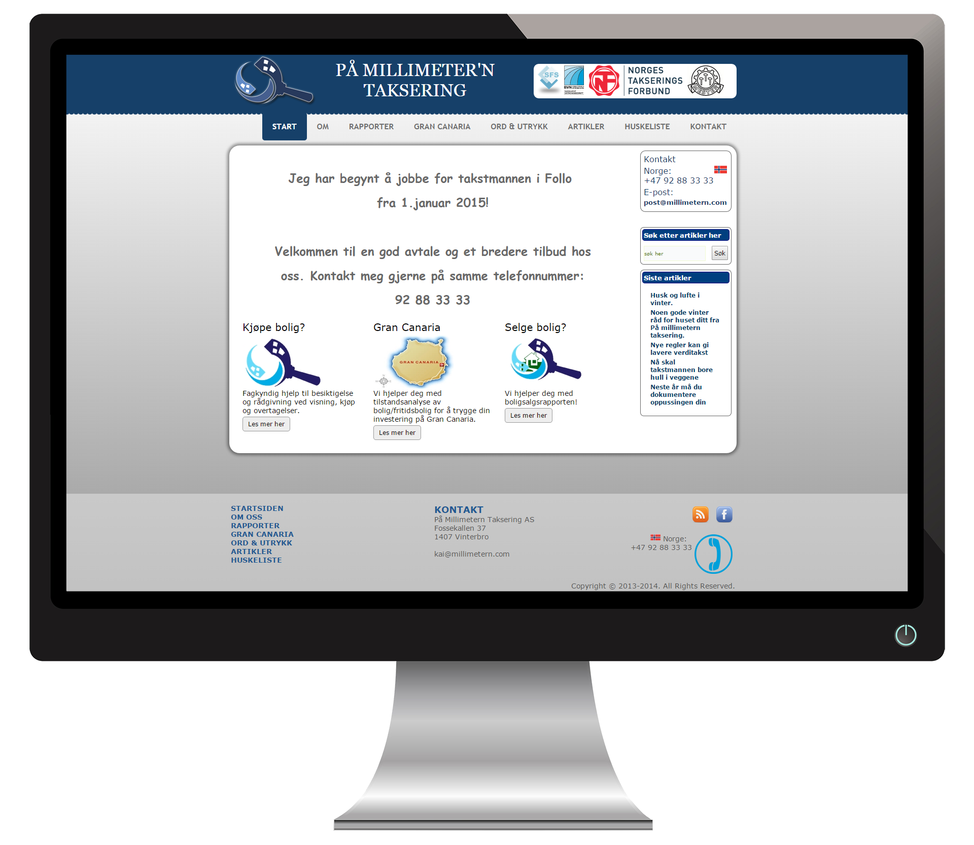 En pc-skjerm som viser nettsidene til PåMillimeternTaksering
