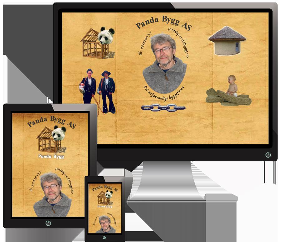 3 skjermer som viser PandaBygg sine nettsider i forskjellige størrelser
