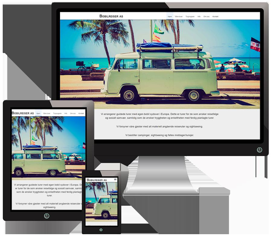 3 skjermer som viser Bobilreiser sine nettsider i forskjellige størrelser