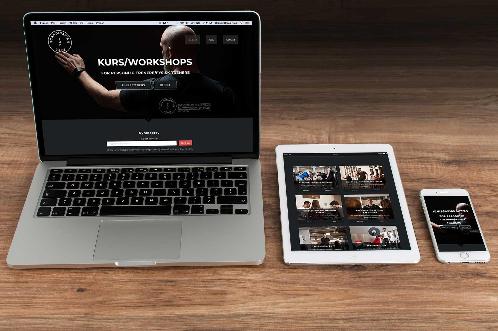 PC,tablet og telefon som ligger på tre-bord med nettsidene til scandinaviantopteam på dem
