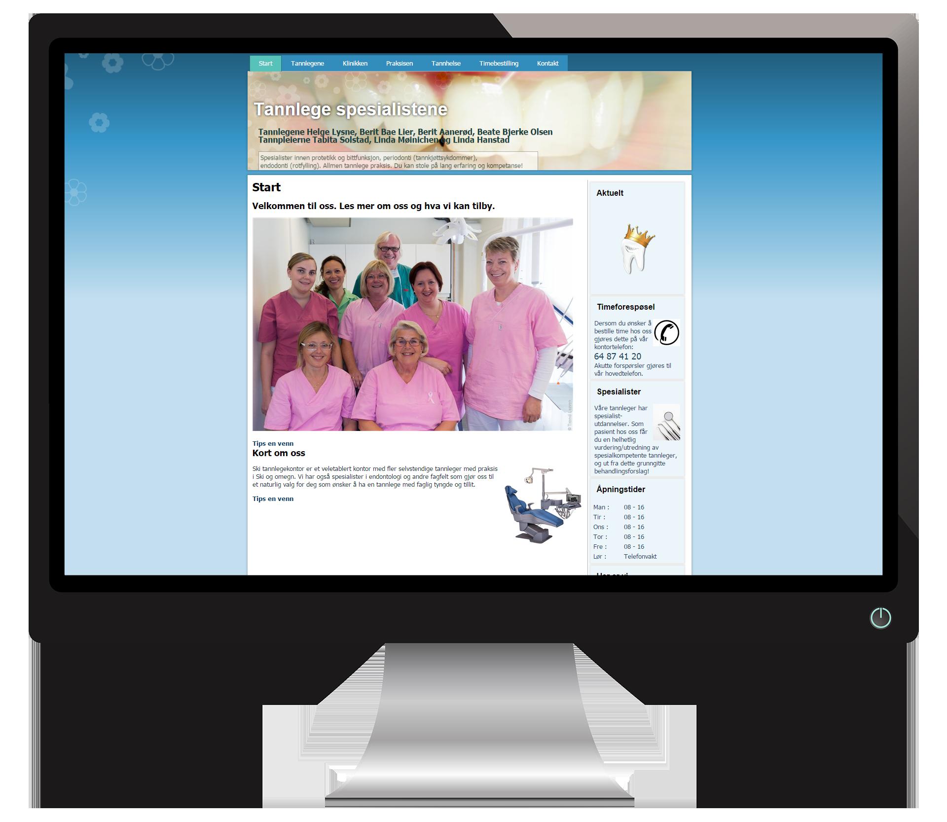 En pc-skjerm som viser nettsidene til SkiSpesialistTannklinikk