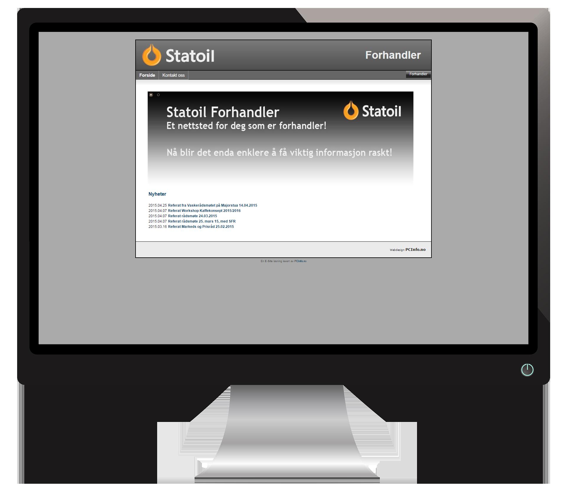En pc-skjerm som viser nettsidene til StatoilForhandler