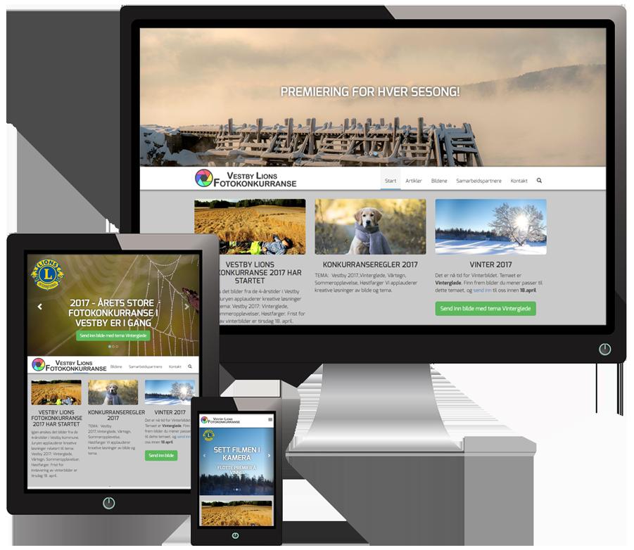 3 skjermer som viser Vestbyfotokonkurranse sine nettsider i forskjellige størrelser