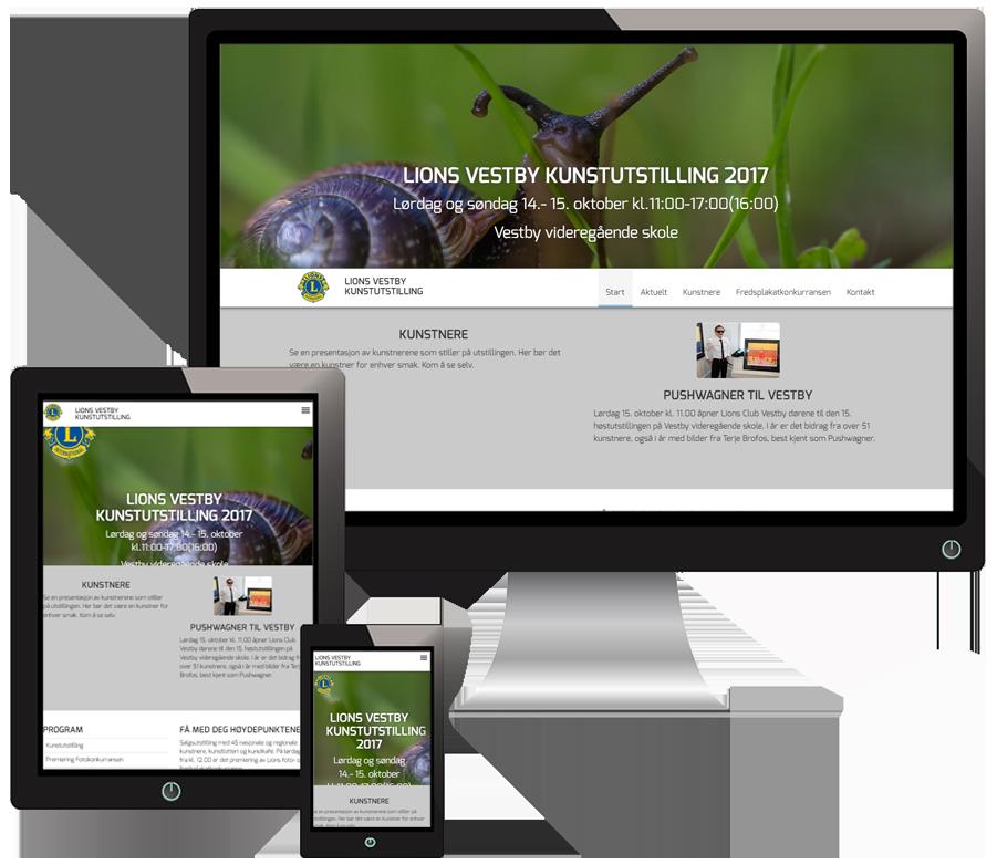 3 skjermer som viser Vestbykunst sine nettsider i forskjellige størrelser