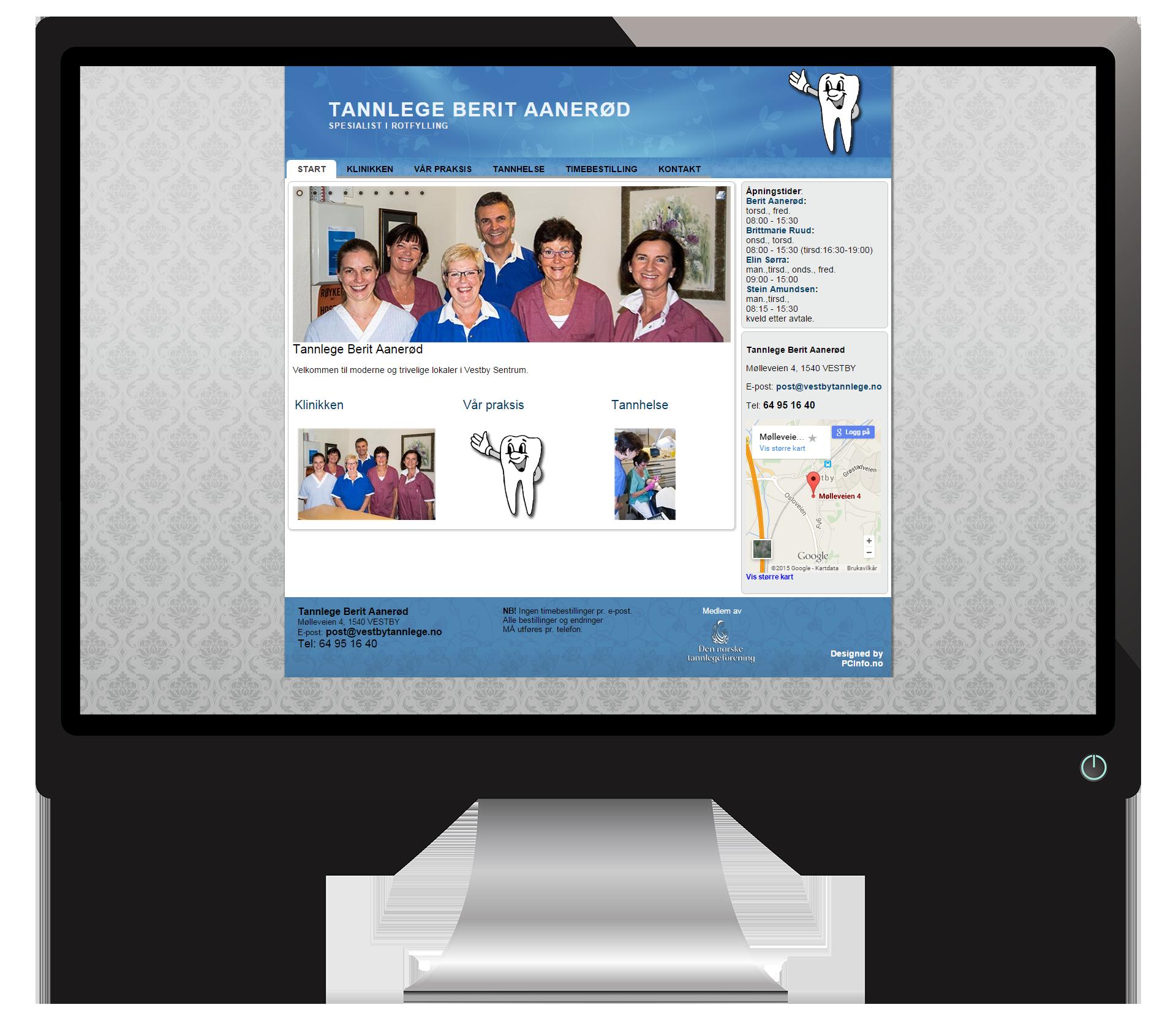 En pc-skjerm som viser nettsidene til Vestbytannlege