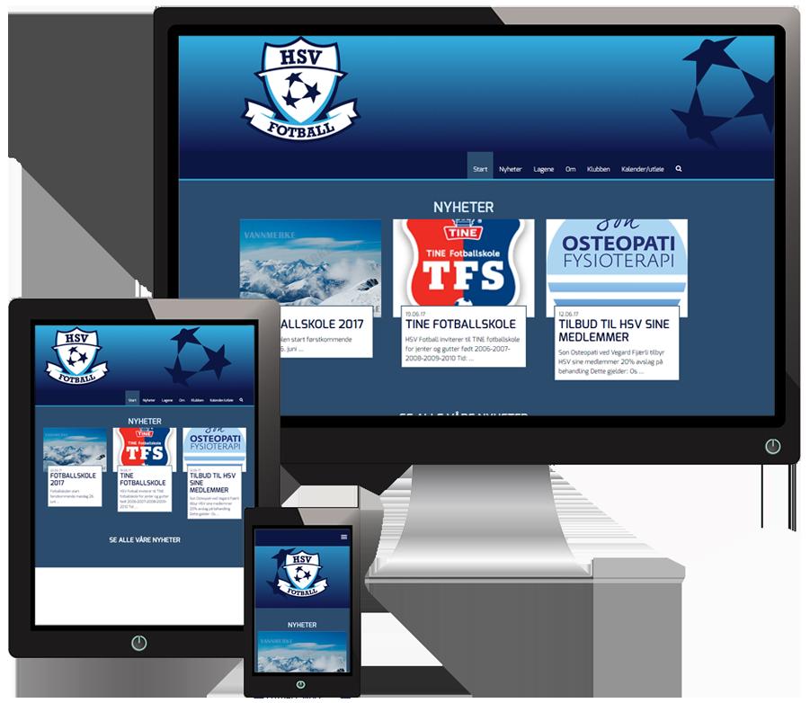 3 skjermer som viser HSVfotball sine nettsider i forskjellige størrelser