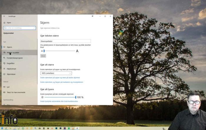 Windows skrivebord med dialog for å endre musepeker